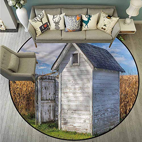 (Living Room Area Round Rugs,Outhouse,Country Cottage Wheat,Super Absorbs Mud,4'7