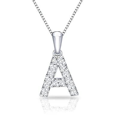 71859601ea Amazon.com  Diamond Wish 14k White Gold Initial A Diamond Pendant Necklace  (1 10 cttw) with 18