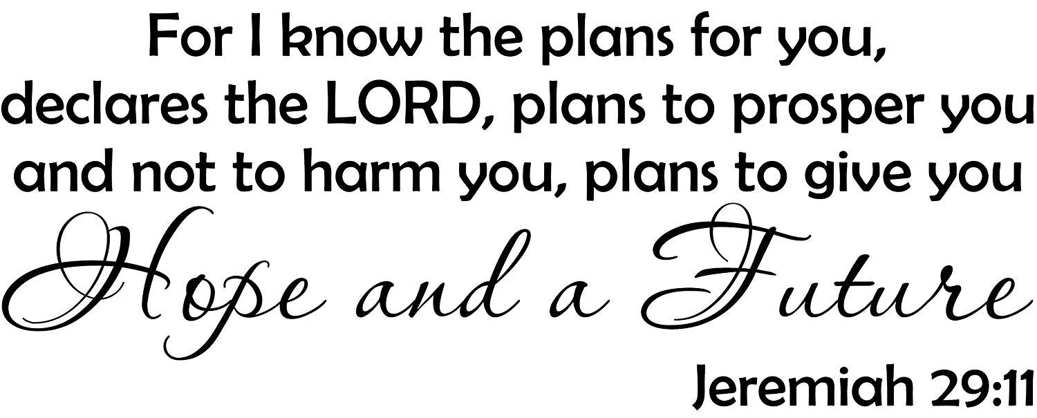Empresal Wall Decal Quote Jeremiah 29:11 for I Know The Plans for You Bible Verse Wall Decal