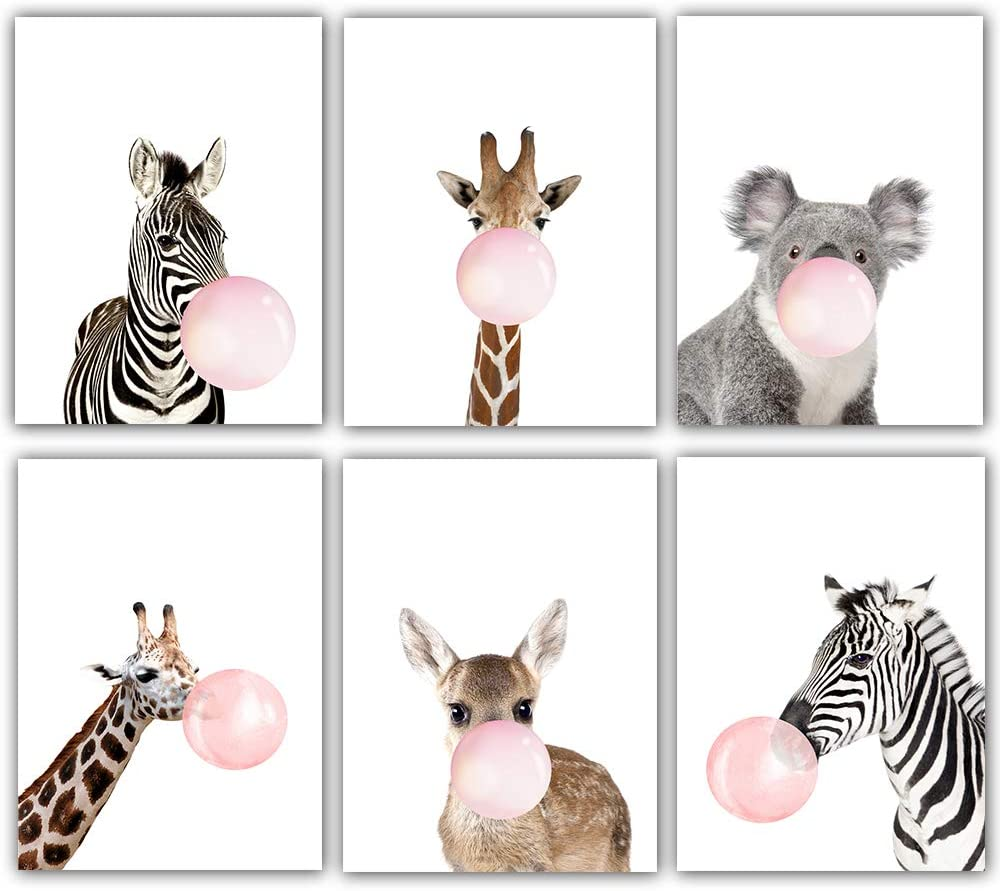 "Pink Bubble Gum Animal Prints Whimsical Safari Animals and Woodland Creatures Nursery Wall Prints Artwork Illustrations Giraffe Zebra Koala,Deer Room Decor (Set of 6) Unframed 8""x10"""