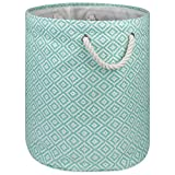 """DII Woven Paper Basket or Bin, Collapsible & Convenient Home Organization Solution for Bedroom, Bathroom, Dorm or Laundry(Large Round - 15x20""""), Aqua Geo Diamond"""