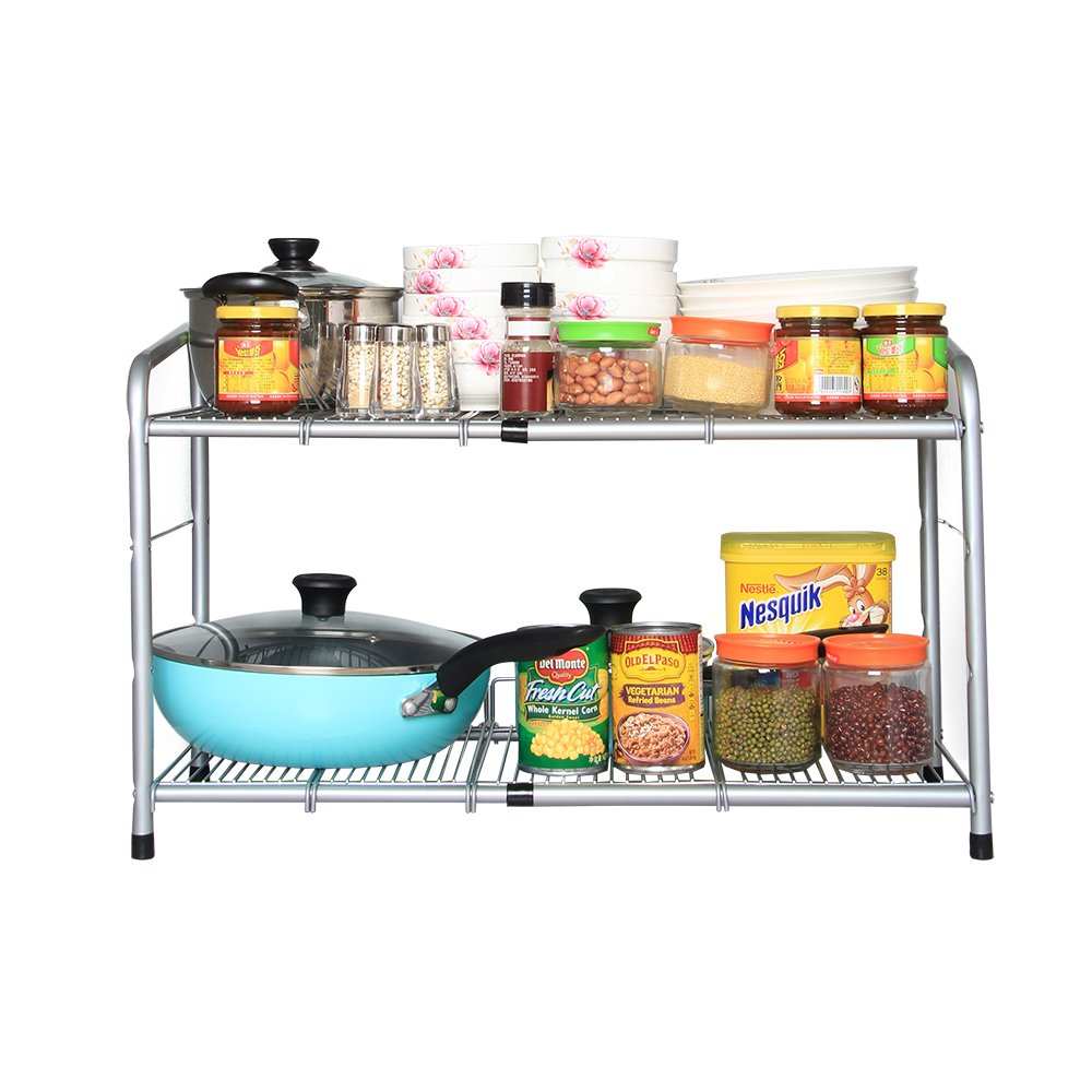 Flagship 2 Tier Under Sink Strainer Stainless Steel Silver Expandable Shelf Organizer
