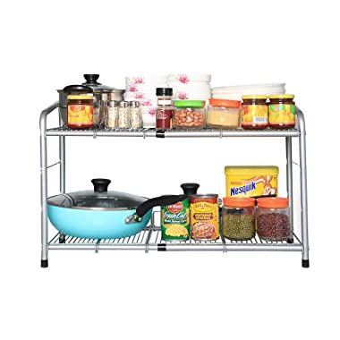 Flagship 2 Tiers Under Sink Strainer Stainless Steel Silver Expandable Cabinet Shelf Kitchen and Bath Multipurpose Tidy Organizer Storage Rack