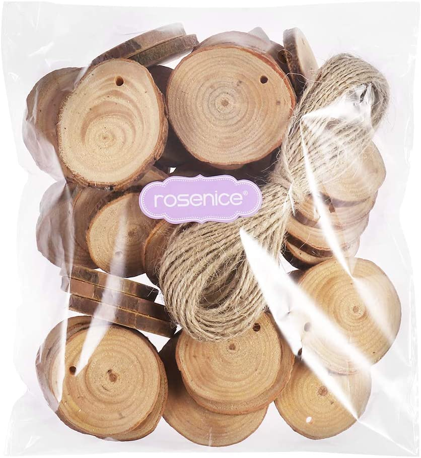 ROSENICE 50pcs Wood Disc Slices Round Wood Pieces with Hole for DIY Art Crafts Project 4cm