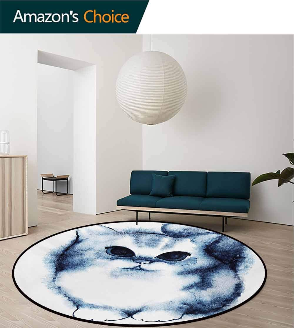RUGSMAT Navy Blue Carpet Gray Round Area Rug,Cute Kitty Paint with Distressed Color Features Fluffy Cat Best Companion Ever Pattern Floor Seat Pad Home Decorative Indoor,Round-55 Inch