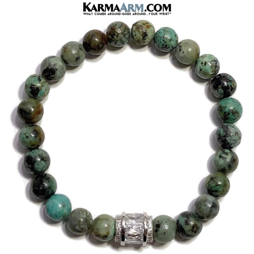 KarmaArm Find Joy CZ Diamond Pave Barrel Reiki Chakra Yoga Meditation Jewelry Natural African Turquoise Gemstone Meditation Bracelet