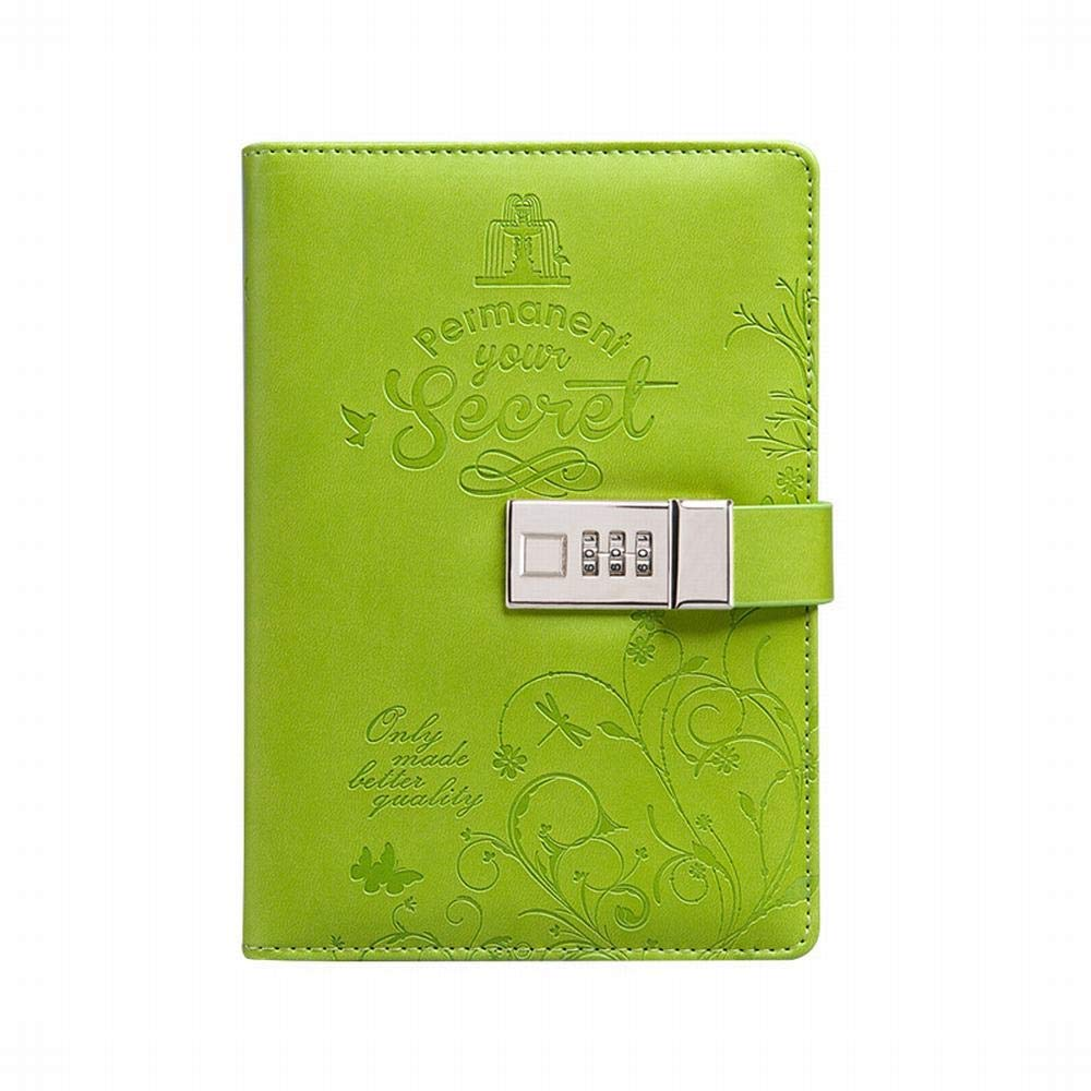 Sinngukaba Fashion Leather Notepad- B6 Business Code Notebook, Large, Hardcover with Gift Box (Color : Green)