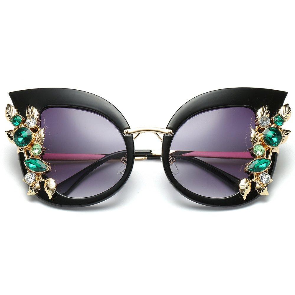 JJLIKER Women Diamond Cat Eye Polarized Protection Sunglasses Metal Frame Classic Gradient Goggles Outdoor Travel