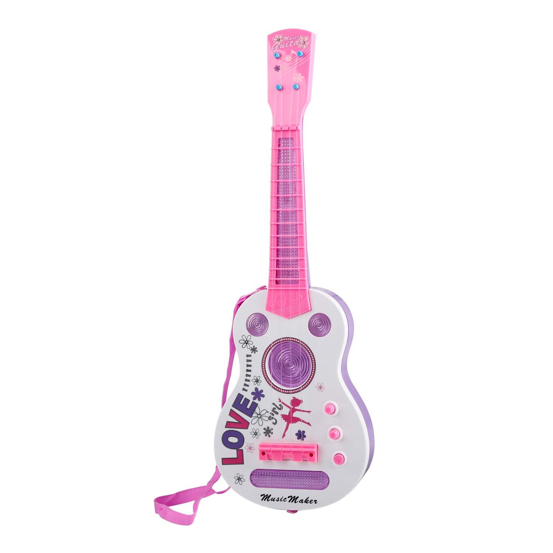 TWFRIC キッズ ギター 21インチ フラッシュライト ギター 子供用 音楽教育玩具 男の子 女の子 子供 (ピンク)   B07JGN357P