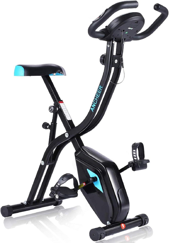 Profun Bicicleta Estática Plegable App 10 Niveles de Resistencia Magnética, Bicicleta de Ejercicios con Tableta/Soporte para Teléfono y Asiento Grande ...