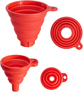 Ocasar Kitchen Canning Funnel Set of 2, Premium Red Collapsible Silicone Food Funnels for Wide Mouth and Regular Mason Jars, Flexible Use for Coffee, Liquid, Jam, Cooking (2 Size Large and Small)