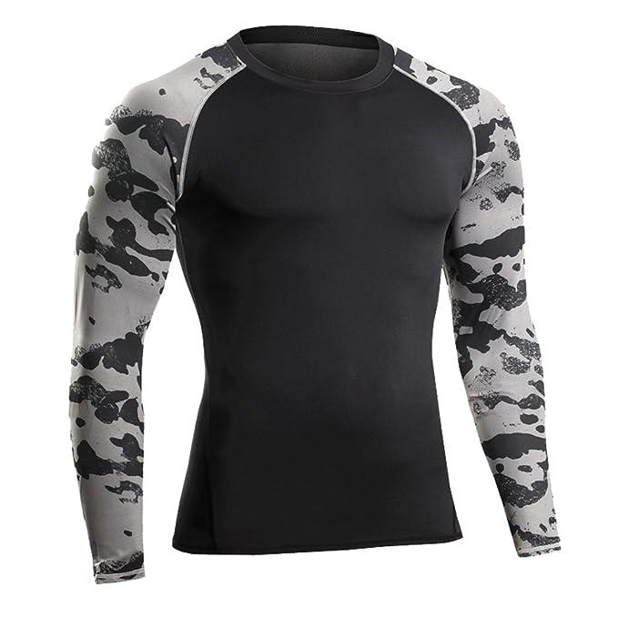 Camiseta de Compresiòn Manga Larga Camisetas Running con Estampado de Camuflaje para Hombre Negro Gris XL