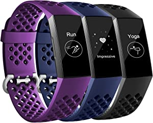 Maledan Bands Compatible with Fitbit Charge 3 and Charge 4, Breathable Sport Band Replacement Wristbands with Air Holes for Charge 4/ Charge 3/ Charge 3 SE Fitness Tracker Women Men, 3-Pack, Large