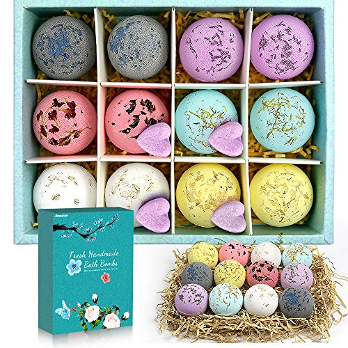 Bath Bombs for Women for Girls with Surprise Inside 12 Packs, Natural Lush Bath Gifts for Kids, Great Gift for Birthday, with Pure Essential Oils, Mild to Sensitive Skin, Lavender, Oatmeal, Charcoal