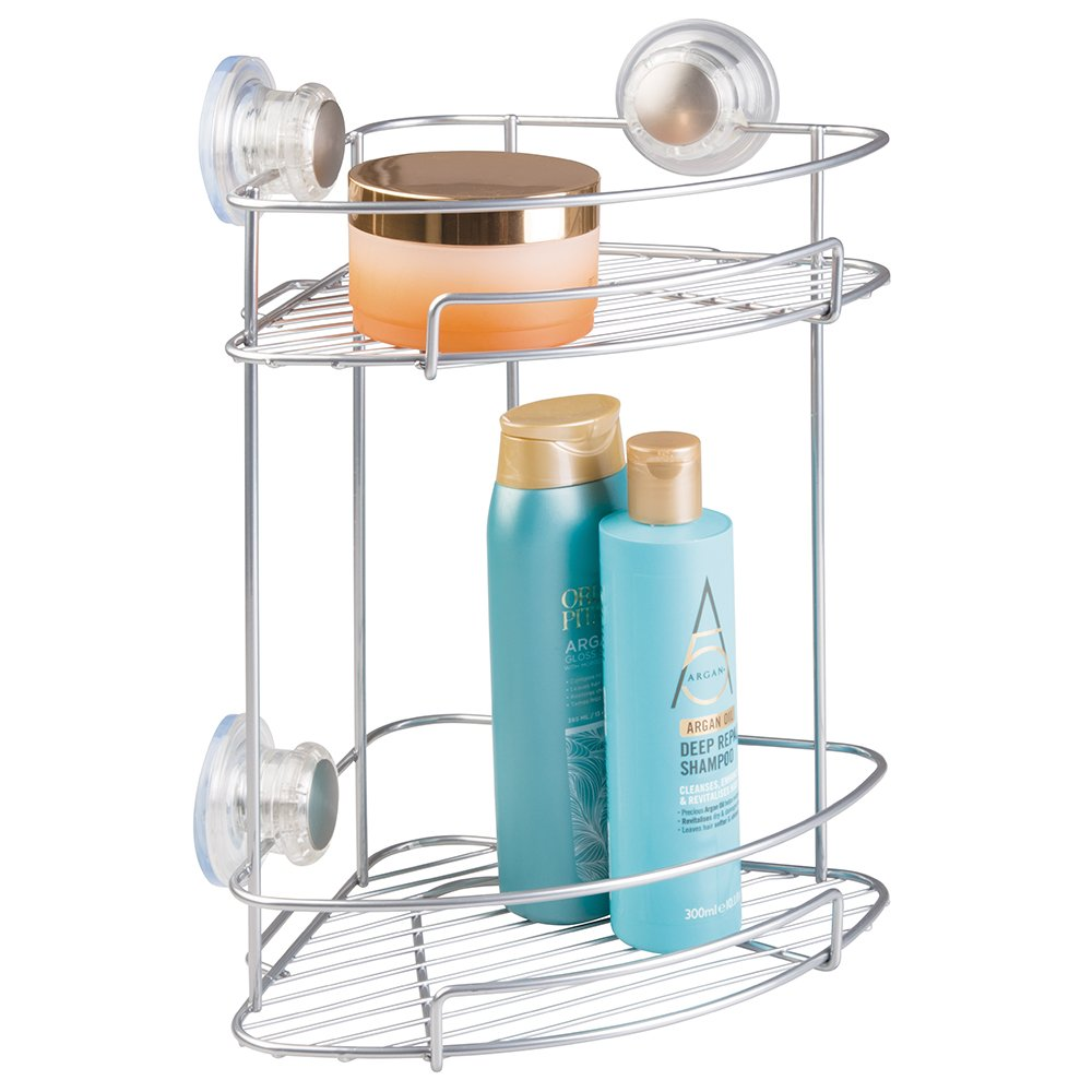 Amazon.com: mDesign Suction Bathroom Shower Caddy Corner Basket for ...