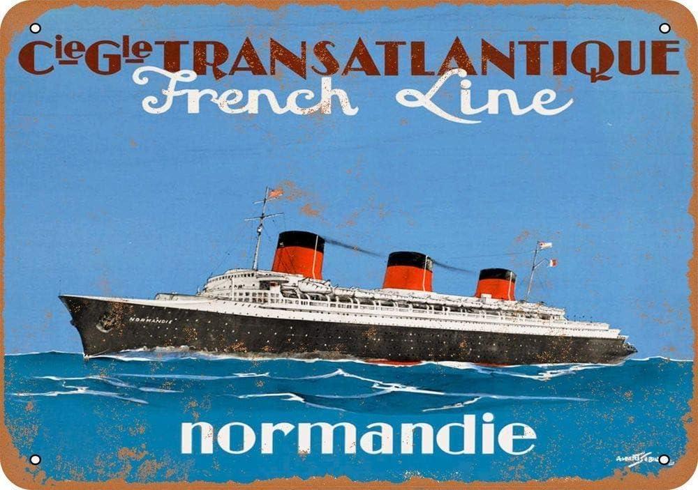 Meubles de Bar Wild boy French Line Normandie Art Mural en m/étal Plaque davertissement Affiche du mus/ée Restaurant mari/é Restaurant de No/ël Portraits de Bar