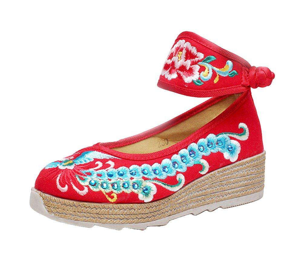 AvaCostume Womens Phoenix Embroidery Increasing Platform Wedge Ankle Band Shoes B01N5XE8FN 39 M EU|Red