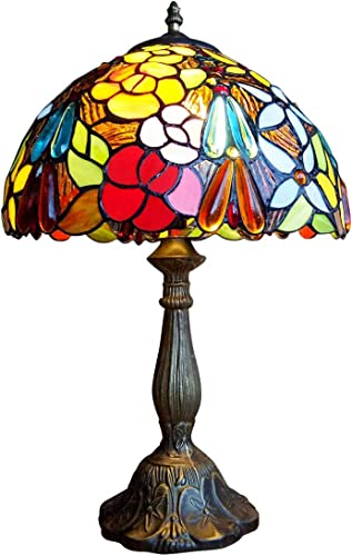 FUMAT Tiffany Table Lamps LED Bedroom Bedside 18 INCH Tall Table Lamp Rose Flower Grape Stained Glass Lamp Shade Office Desk Light