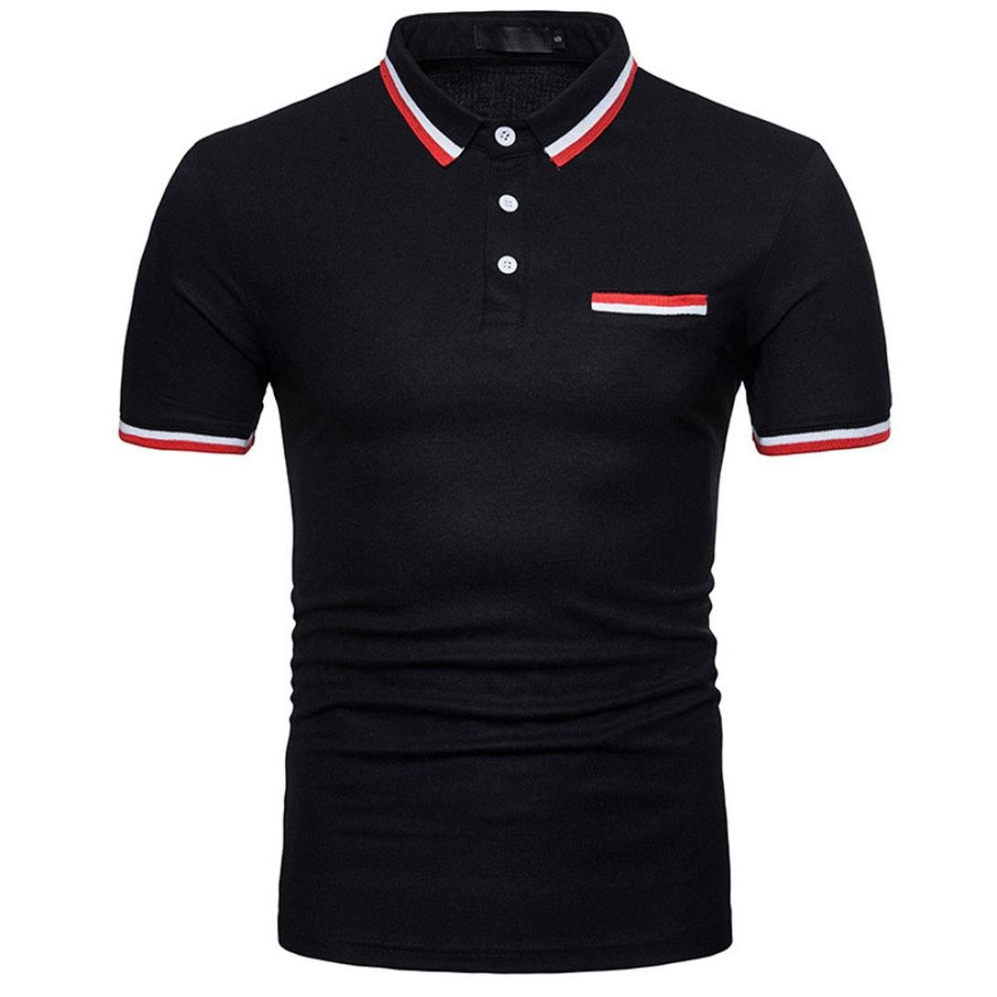 Forthery Men Polo Shirts Summer Tops Short Sleeve Slim Fit Henley T-Shirt (Black, US L = Asia XL)