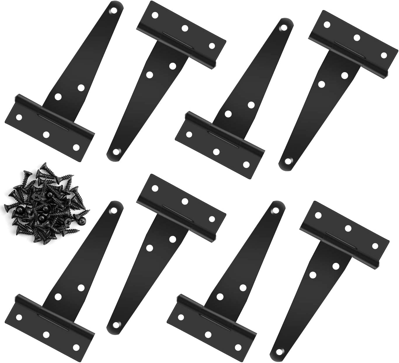 QUACOWW 8 Pieces 4 Inch T-Hinge Black Metal T Strap Hinges Rustproof Gate Door Hinges with 48 Pieces Mounting Screws for Windows Sheds and Barn Gates Fence