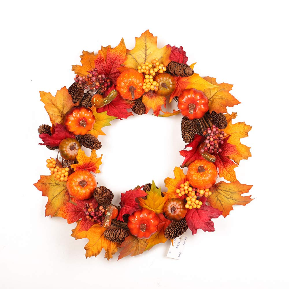 ASSR Silk Fall Front Door Wreath, Dia 18inches Autumn Harvest Wreath with Pumpkins, Leaves, Berries and Pinecones for Wall Décor Outdoor Display to Celebrate The Thanksgiving