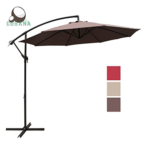 COBANA 10 Feet Cantilever Freestanding Patio Umbrella With Crank And Base,  Polyester, Coffee