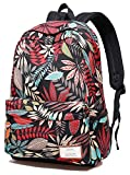 Zealax Girls Floral Backpack for College Student School Bag Travel Daypack Black