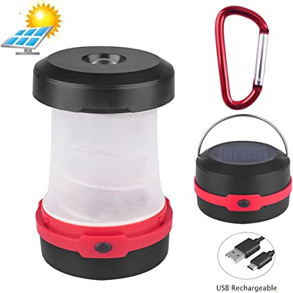 Flashlight Mobile Charger SOS Flashing Collapsible Space Saving Design Solar Powered LED Camping Lantern Blue-USB Chargeable Hiking Camping Tent Lawn for Outdoor Night