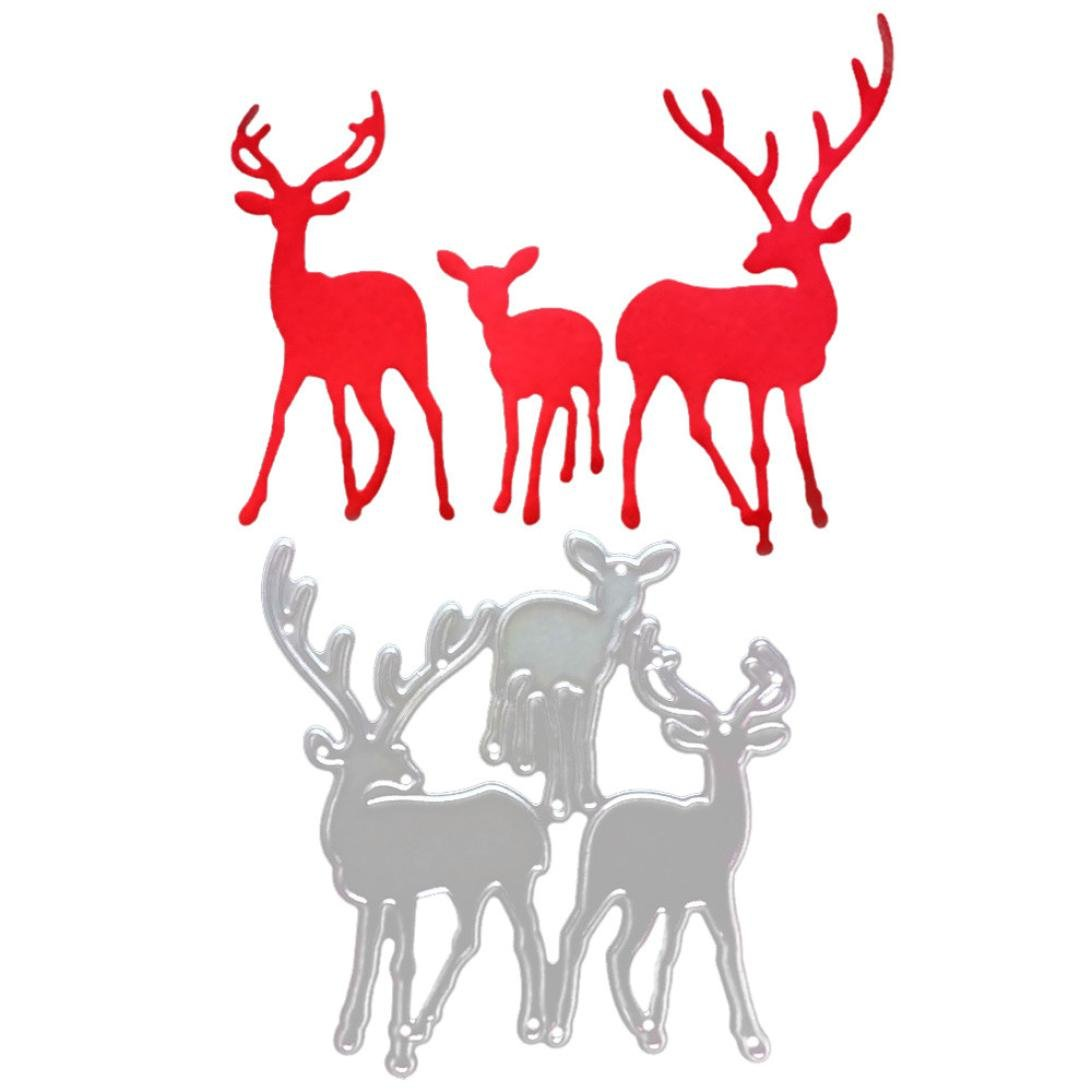 Christmas Metal Cutting Dies Deer for Card Making, Staron Cut Die Metal Stencil Template Mould for DIY Scrapbook Embossing Album Paper Card Craft (F)