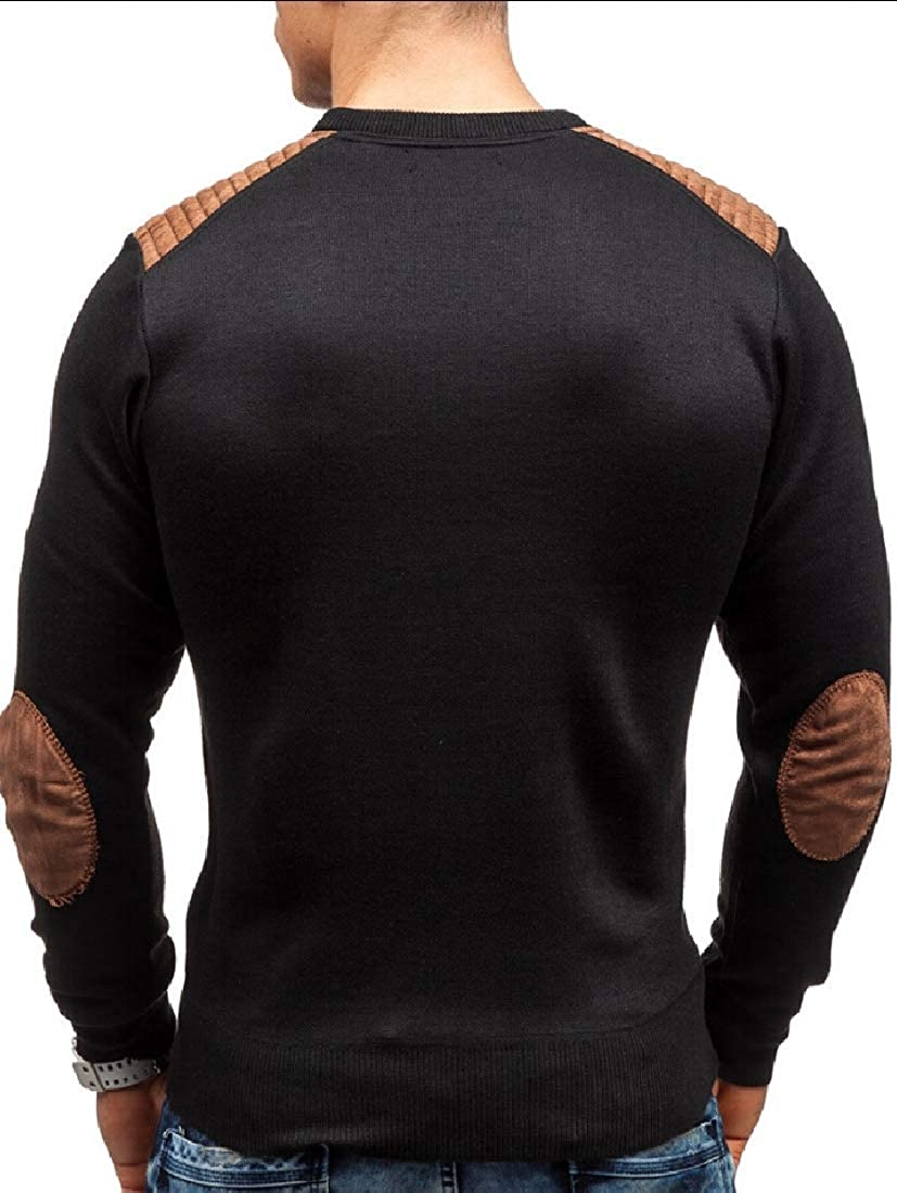 omniscient Mens Mens Knitted Casual Crewneck Long-Sleeved Loose Fit Sweaters Pullover Winter Warm Tee