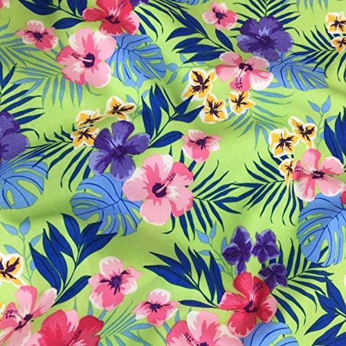 Lime Grün Hawaii Muster, 100% Baumwolle feines Gewebe Blumenmuster ...