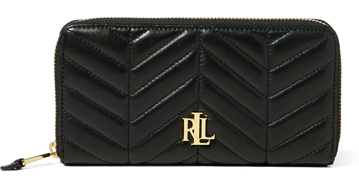 9e6d7f80e3 LAUREN Ralph Lauren Women`s Quilted Carrington Zip Wallet (Black (6847)   Gold
