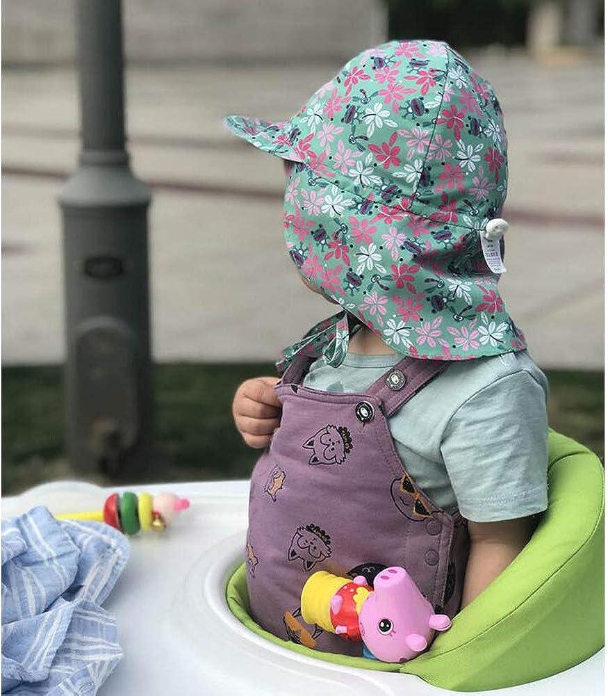 Lazzon Cappello da Sole Anti UV Traspirante Spiaggia Berretto con Sottogola Estate Cappuccio per Bambino Bambine 1-5 Anni