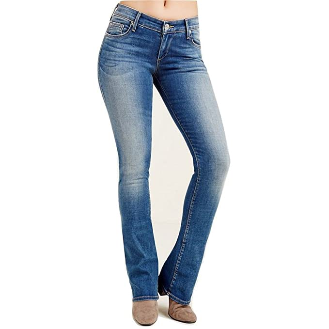 70025c92f16 True Religion Womens Jennie Whisker Wash Mid-Rise Bootcut Jeans Blue ...