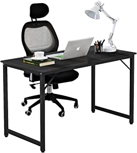DlandHome 47 inches Medium Computer Desk, Composite Wood Board, Modern Home Office Desk/Workstation/Table, WK-JJ, Black and Black Legs