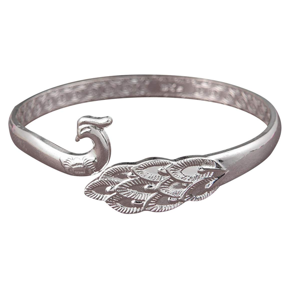 Weiy Peacock Bangle Bracelet Adjustable Silver Wristbands Women Bracelets Bangles Accessories for Girls Gift Trendy Jewelry