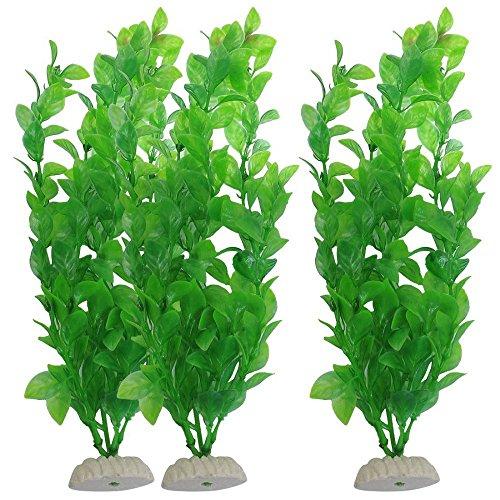 Aquarium Décor Plastic Plants - 3 Piece Aquarium Fish Tank Green Plastic Artificial Plants 10.6