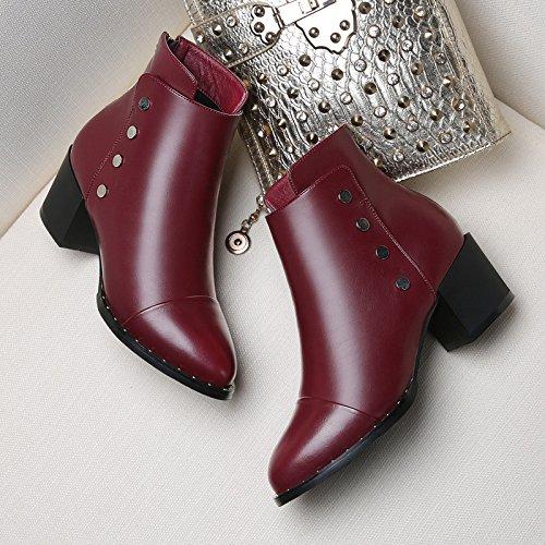 col GTVERNH stivali combaciano autunno red alto inverno 8508 piccole coreano Wine con scarpe con in con stivali stivali tacco martin gli e inverno grossolana ArqxFwAa