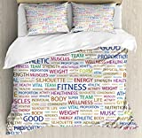 Fitness King Size Duvet Cover Set by Ambesonne, Gymnastics Psyhical Activity Lifestyle Concept Words Salubrity Wellness Health, Decorative 3 Piece Bedding Set with 2 Pillow Shams, Multicolor