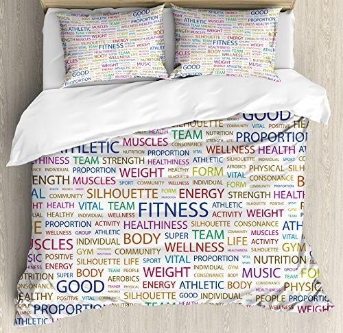 Ambesonne Fitness Duvet Cover Set, Gymnastics Psychical Activity Lifestyle Concept Words Salubrity Wellness Health, Decorative 3 Piece Bedding Set with 2 Pillow Shams, Queen Size, Indigo Red