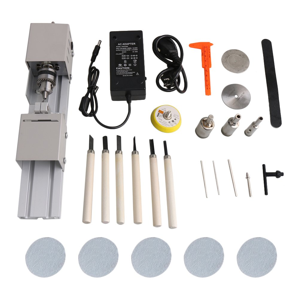 Mxfans 24V Woodworking Mini Lathe Polishing Cutting Drilling Machine Tool Set