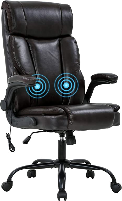 Office Chair Desk Chair Computer Chair with Lumbar Support PU Leather Executive Ergonomic Chair Rolling Swivel Adjustable Task Chair for Men Black