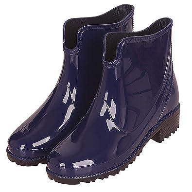 Botas Agua Cortas Goma Impermeables Botas de Lluvia para Mujer Botines Chelsea de Goma Outdoor Antideslizante Negro Azul Rojo: Amazon.es: Zapatos y ...