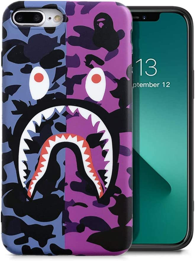 KUBEKE iPhone 7 Plus/iPhone 8 Plus Case, Street Fashion Shark Face Designed Soft iPhone 7plus/8plus Cover, Sleek Smooth Non Faded Slim Protective Anti-Scratch case (ZFYU)