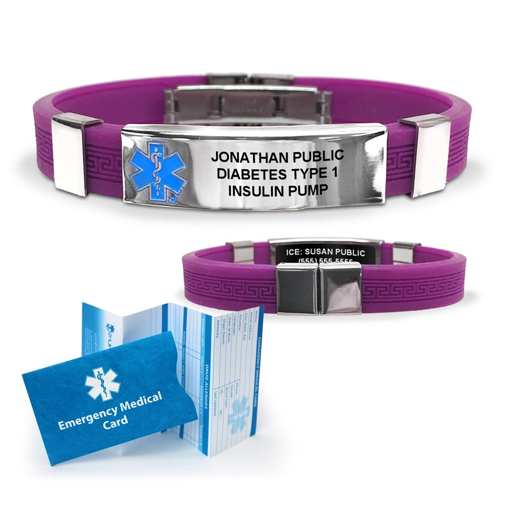 Silicone Designer Medical ID Bracelet (incl. 6 lines of custom engraving). Choose Your Color! (Purple)
