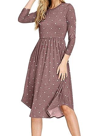 db27fd258d18 NICIAS Women Polka Dot 3 4 Sleeve Casual Dress Tunic Vintage Loose Swing  Pleated Midi