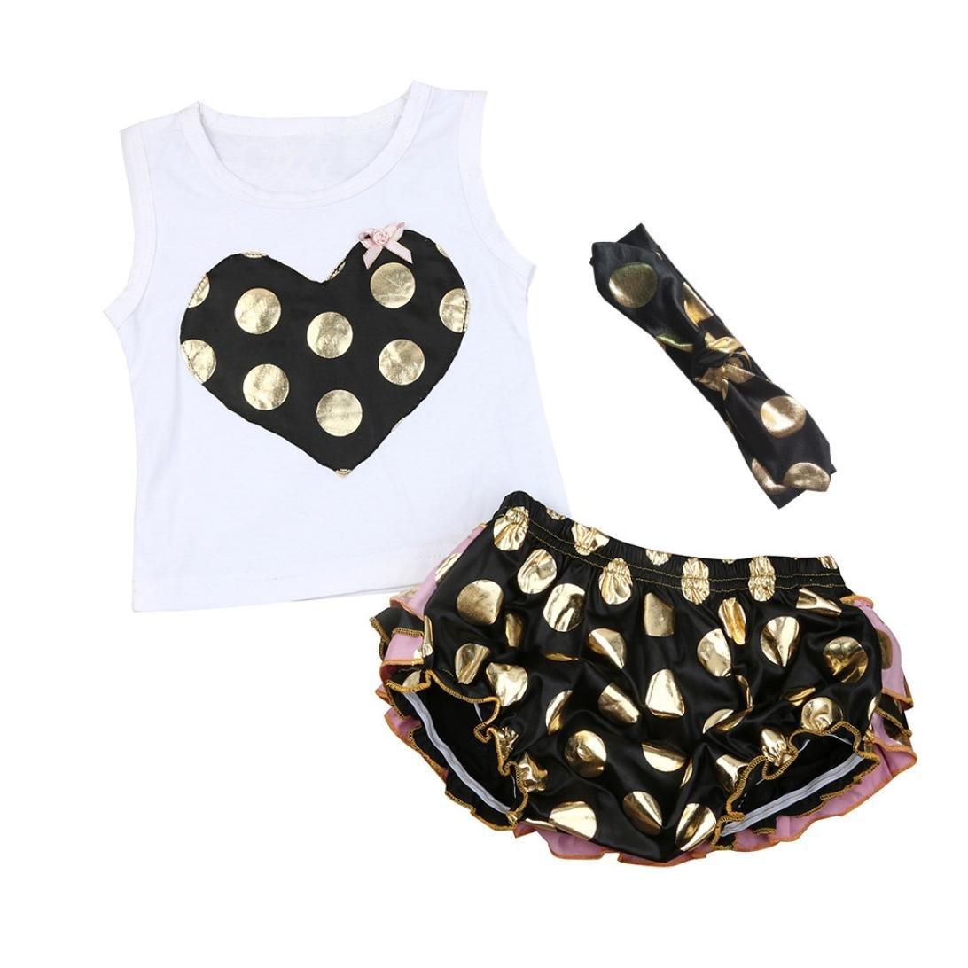 Bekleidung Longra Sommer Kleinkind Baby Mädchen Kleidung Set WesteTops Bluse +Gold Sequins Dot Shorts + Stirnbänder Outfits Baby-Anzüge(0-18Monate)