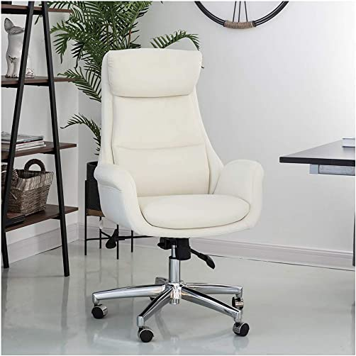 Glitzhome Home High-Back Office Chair Leather Adjustable Swivel Desk Chair