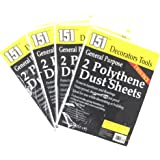 Pack of 8 Polythene Dust Sheets for Decorating or Building - Protects Furniture and Flooring.