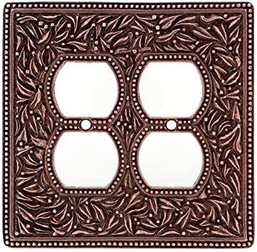 Antique Brass Vicenza Designs WPJ7011 San Michele Wall Plate with Jumbo Dimmer and Outlet Opening